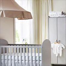 A child's cot or bed
